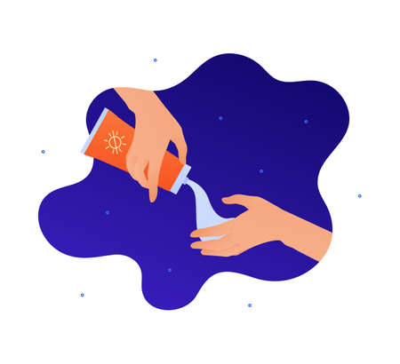 Sun screen protection cream concept. Vector flat people illustration. Human hand squeeze sunscreen cream from bottle on blue abstract background. Design for cosmetic industry and dermatology.  イラスト・ベクター素材