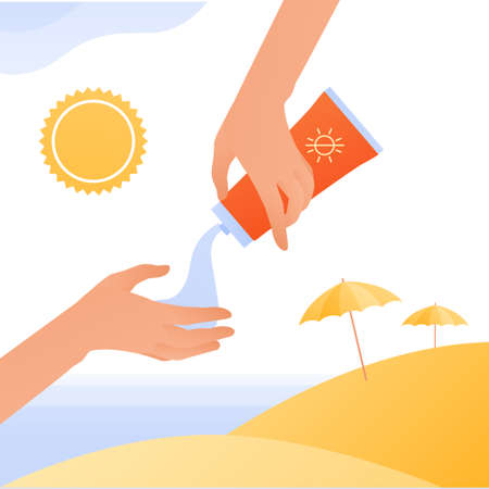 Sun screen protection cream concept. Vector flat people illustration. Human hand squeeze sunscreen cream. Beach with umbrella and sea on background. Design for cosmetic industry and dermatology.