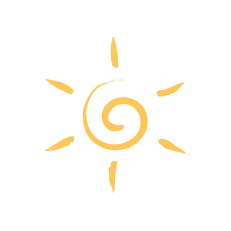 Yellow sun symbol isolated on white background. Color vector icon. Design element  イラスト・ベクター素材