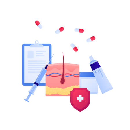 Dermatology and skin disease treatment concept. Vector flat medical illustration. Medicine, syringe, cream in tube sign. Red shield with white cross protection symbol. Design for healthcare, checkup  イラスト・ベクター素材