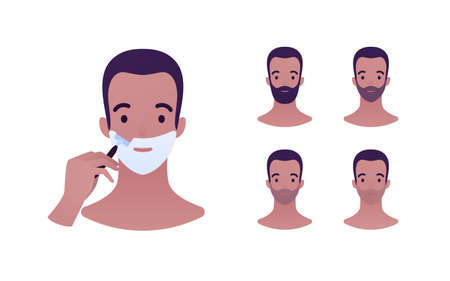 Daily skin care routine concept. Vector flat people avatar illustration. Step instruction. Male smiling face in foam shave. Set of faces from unshaven to beard. Design for dermatology, beaty industry