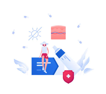Dermatology and skin disease treatment concept. Vector flat medical illustration. Female patient sitting on box of medicine. Cream tube and pill with shield protection symbol. Design for healthcare.