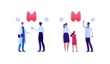 Endocrinology and thyroid disease awareness concept. Vector flat people medical illustration set. Male and female doctor patient checkup appointment. Adult and child character. Design for healthcare