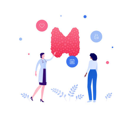 Endocrinology and thyroid disease awareness concept. Vector flat people medical illustration. Female doctor and patient checkup appointment. Calendar, medicine, heart shape sign. Design for healthcare