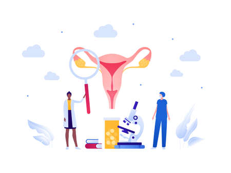 Gynecology and female reproductive system research concept. Vector flat medical people illustration. Doctor and scientist team. Magnifier glass, microscope, medicine. Design for healthcare, science.