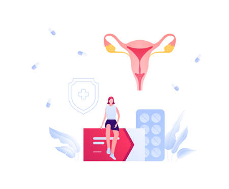 Gynecology and female reproductive system illness treatment concept. Vector flat medical people illustration. Female patient sitting on box of medicine. Uterus internal organ. Design for healthcare.