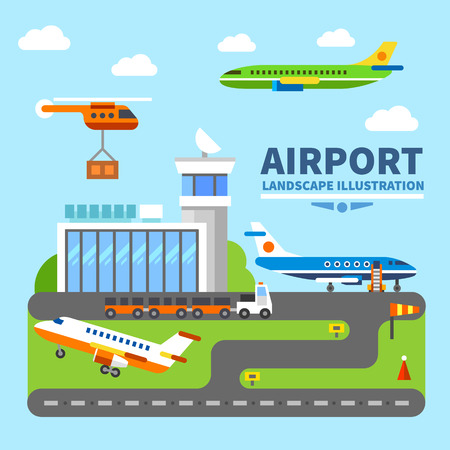 airport business: Airport landscape. Terminal and takeoff and landing strips. Air crafts. Vector flat illustration