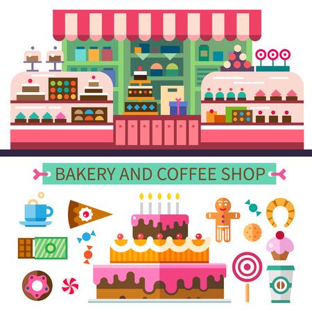 제빵 및 커피 숍. 카페 인테리어. 케이크 사탕 쿠키 과자 커피. 벡터 평면 그림