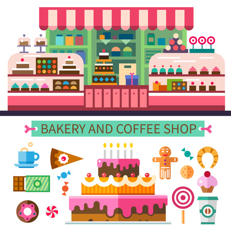 shop window: Bakery and coffee shop. Cafe interior. Cakes candy cookies sweets coffee. Vector flat illustrations