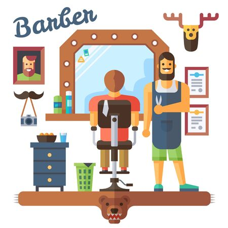hair style: Barber. Interior barbershop. Master and client. Hipster style. Vector flat illustration Illustration