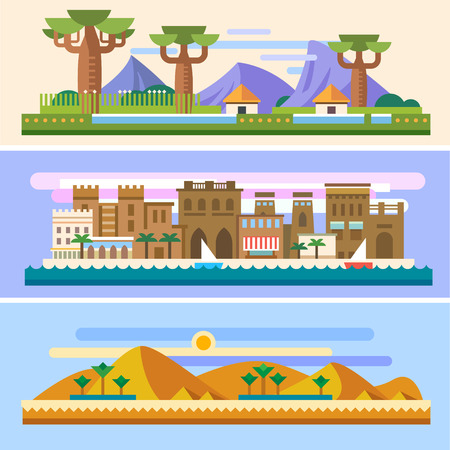 hut: African landscapes: Savannah houses mountains baobabs desert sun sand pyramids palm trees city sea boats. Background for site or game. Vector flat illustrations Illustration