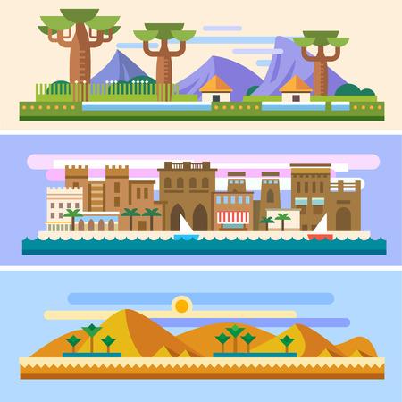 barco caricatura: Paisajes africanos: Savannah casas montañas del desierto árboles baobabs pirámides sol arena Palm City barcos al mar. Antecedentes para el sitio o juego. Vector ilustraciones planas
