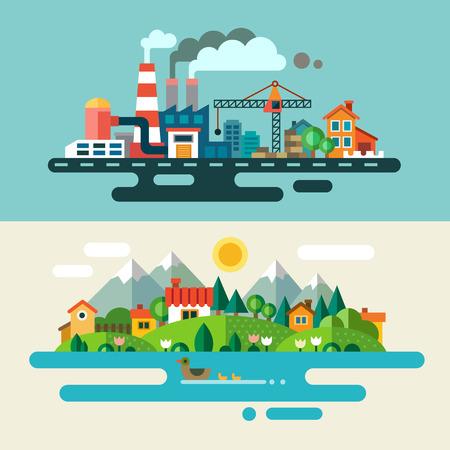 Городской пейзаж и деревни. Экология защиты окружающей среды: производство завод завод загрязнения дым здание. Плоские иллюстрации