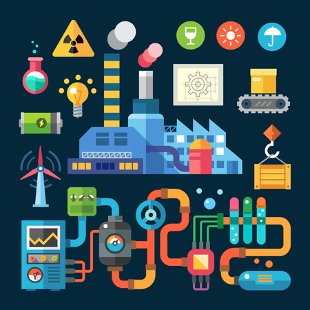Color flat illustrations and icons factory and protection ofenvironment