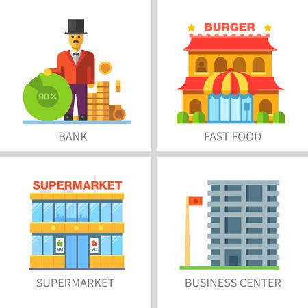 Business and finance. Building of shops: bank fast food restaurant supermarket business center.  Ilustracja