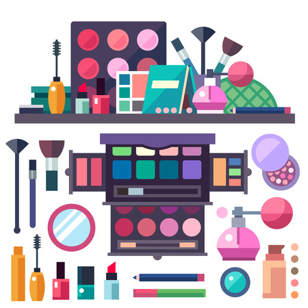 Beauty store. Cosmetics: mascara gloss lipstick blush perfume and makeup brushes.
