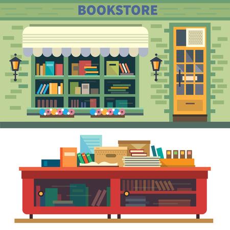 Boekhandel. Boeken wetenschap kennis. Stock Illustratie