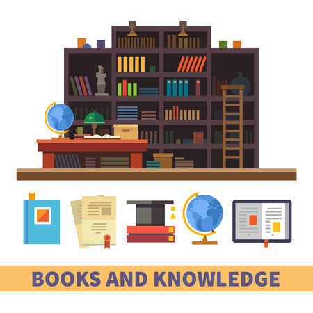 library: Bookcase. Cabinet and library. Books and knowledge. Vector flat illustration and icon set