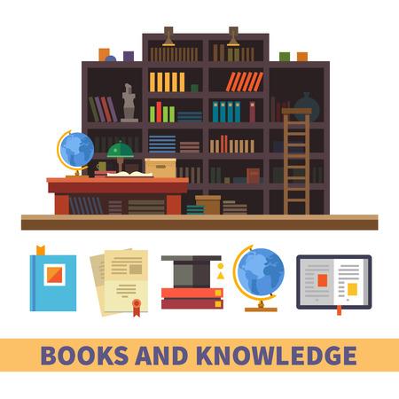 biblioteca: Librero. Gabinete y biblioteca. Libros y conocimientos. Vector ilustración plana y conjunto de iconos