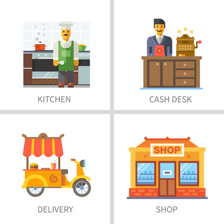 delivery room: Business and finance. Kitchen cash desk delivery food shop.