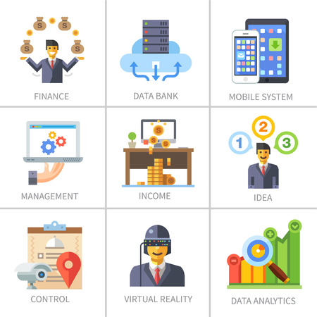Business and finance marketing and management.  Illustration