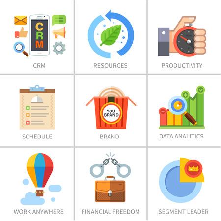 productividad: Negocios y comercialización y la gestión de las finanzas. Vectores