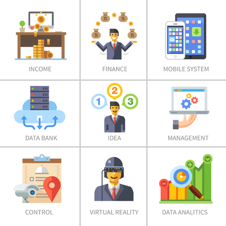 Business and finance marketing and management. Data bank mobile system income idea control virtual reality analytics. Vector flat icon set