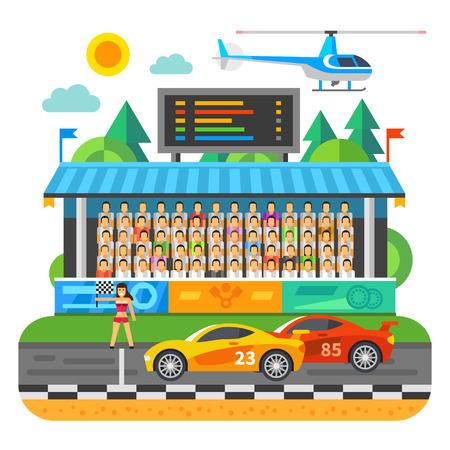 bandera carreras: Carrera De Autos. Competencia en el estadio.
