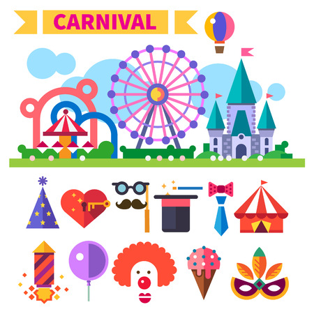 party poppers: Carnival in amusement park. Illustration