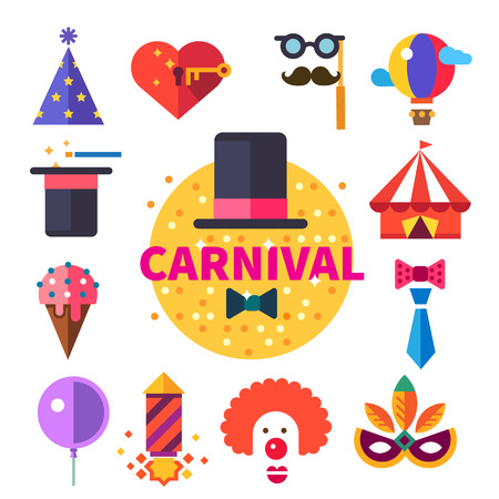 Carnival tricks sweets and smiles.  Illustration