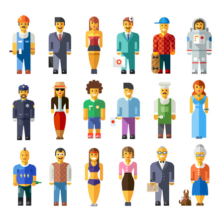 Cartoon flat people different characters Vector