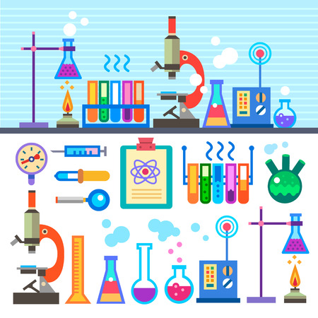 Chemical Laboratory in flat style Chemical Laboratory.  Vectores