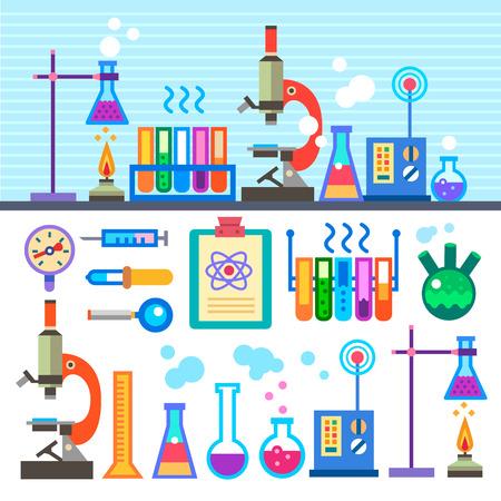 equipos: Laboratorio de Química en estilo plano Laboratorio Químico. Vectores