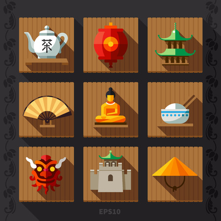 muralla china: Icono plana linterna china