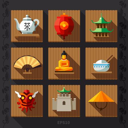 Lanterne chinoise icône plat Banque d'images - 40187592