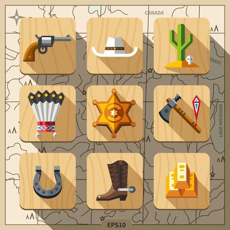 vaquero: Cowboys and Wild West conjunto de iconos plana Vectores