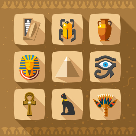 egyptian pyramids: Egypt icons and design elements isolated. Collection of ancient Egypt icons
