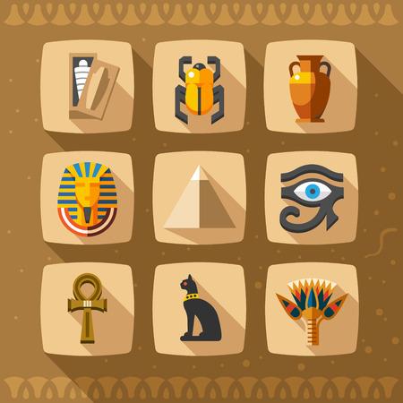 Mısır simgeleri ve tasarım öğeleri izole edilmiştir. Antik Mısır simgeleri Koleksiyonu
