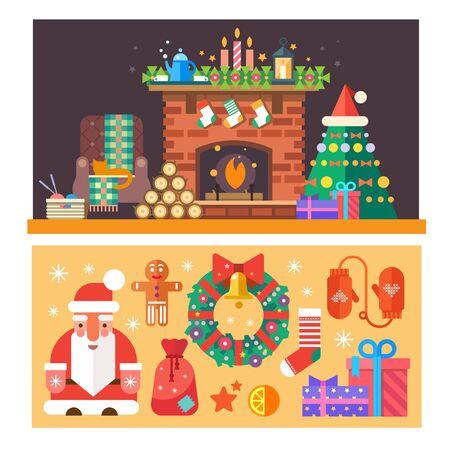gato caricatura: Tiempo de Navidad. Interior de la casa con una chimenea