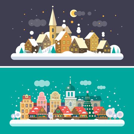 크리스마스 시간. 도시와 마을 풍경 일러스트