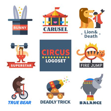 lion: Circus emblems.