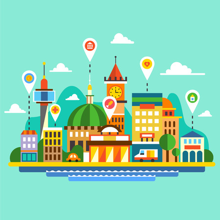 transportation cartoon: City landscape Skyline with locations.