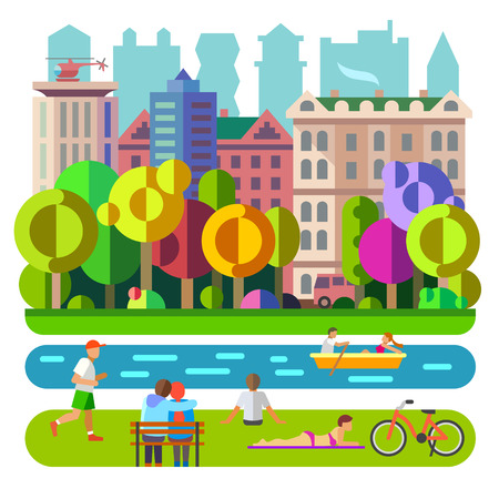 City Park. Freizeit und Erholung Freizeitunterhaltung Illustration