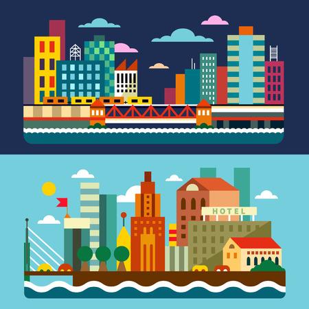 市街のスカイラインのメガロポリス。  イラスト・ベクター素材