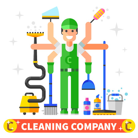 vacuum cleaner worker: Cleaning company flat illustration
