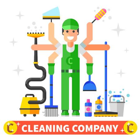 scrubs: Cleaning company flat illustration