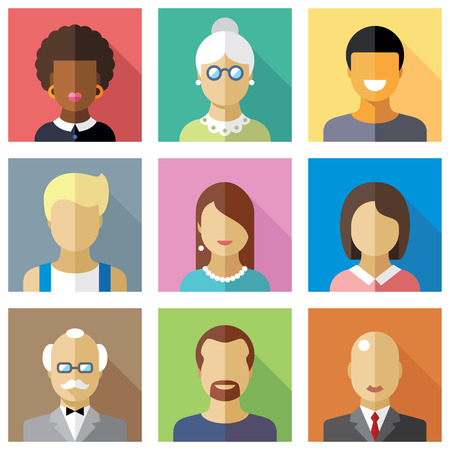 smiling people: Different people character Illustration