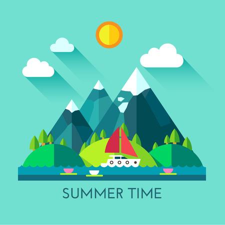 montagna: Tempo di colore icona piatto set e illustrazione estate Vettoriali