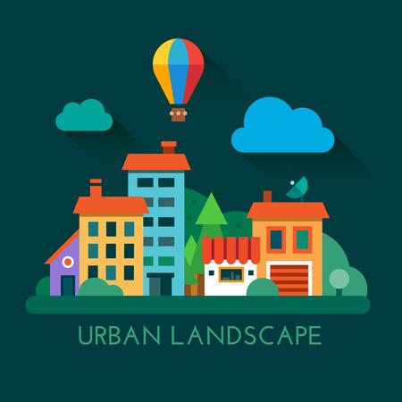 city building: Color flat icon set and illustration urban landscape Illustration