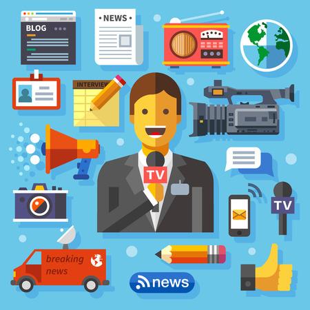 イラスト現代の情報技術とニュース